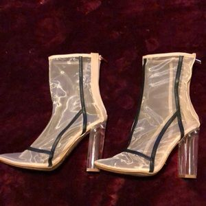 Sheer tan boots with clear heel